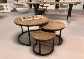 set van ronde salontafels JERREL (zwart onderstel) gratis bezorging